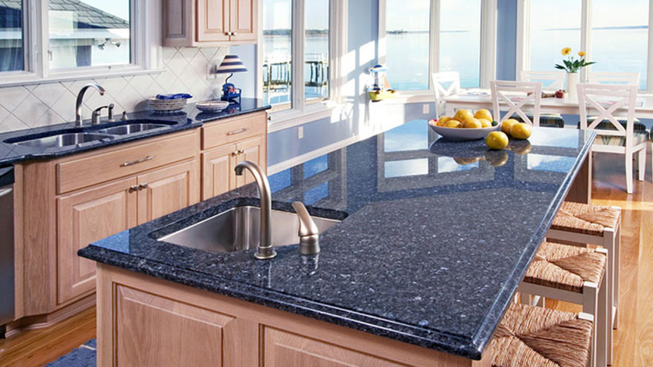 Kitchen With Blue Granite Countertops