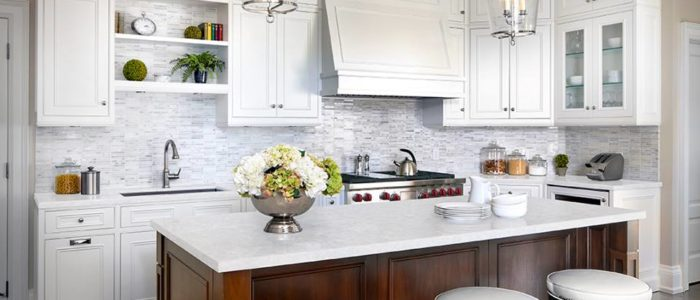 Stunning White Quartz Countertops Featuring Viatera Virgo