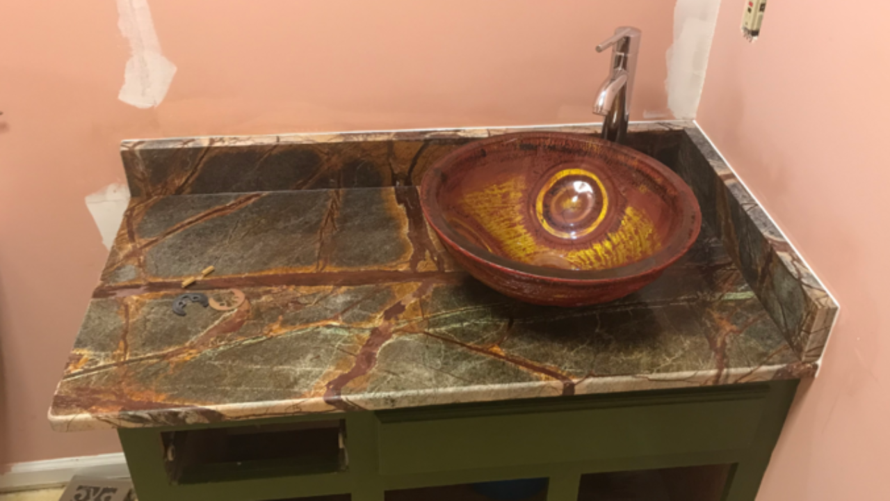 Project Profile Rainforest Brown Marble Vanity In Newman Ga Fayetteville Granite Countertop Warehouse